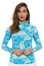 NWT IBKUL Icikuls ALISSA Blue & Green Long Sleeve Mock Golf Shirt  L XL 2XL