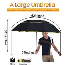 """62"""" Unisex Umbrella Large Double Golf Rain Umbrella Paraguas Alloy Skeleton New"""