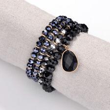 Oval Stone Charm Stretch Beaded Bracelets Set of 4 Boho Seed Bead Bracelet Stack