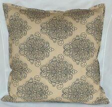"Cushion Cover retro Beige black print 100% cotton zipped 18"" & 16"" FREE p&p"