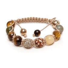 Indian Wooden Agate Yellow Jade Pave Gold Crystal Tigers Eye Gemstone Bracelet Z