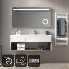 Badspiegel LED Beleuchtung Wandspiegel mit Sensor mit UHR 80x60/100x60/120x60 cm