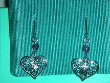 Filigree Cut Heart W Amethyst Crystal 1 5/8 inch Earrings Sterling Sil 1.8 Grams