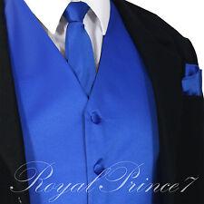 ROYAL Solid Tuxedo Vest Waistcoat and Neck tie Hanky Set Prom Wedding Party 10-I