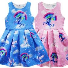 Kinder Mädchen Einhorn Sommerkleid ärmellos Weste Kleid Muster Party Kleidung