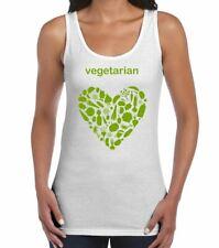 Vegetarian Heart Logo Women's Vest Tank Top - Animal Rights Veggie T-Shirt