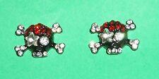 Skull Crossbones Crystal Earrings NEW Black Red Goth Pierced Clear Pirate