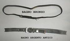 CINTURA METALLO TESSUTO MILANESE LARGA 2 CM  made in italy BAGNO ARGENTO ANTICO