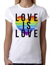 Junior's Rainbow Heart Love is Love White T-Shirt LGBT Gay Lesbian Pride B780
