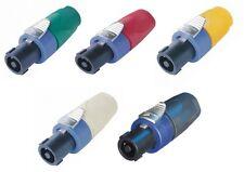 Une paire de Neutrik NL4FX 4 pole speakon bouchons avec un choix de 5 couleurs