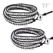 TT Leather Triple-Row White Turquoise Bead Bracelet Mens & Womens (BR134)