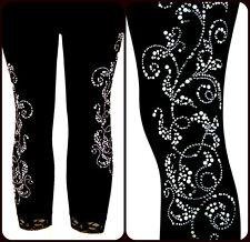 Plus Size Capri Leggings Embellished Rhinestone & Silver Stud Silver Pearl