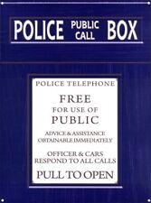Tin Sign Police Public Call Box Navy 30 x 40cm