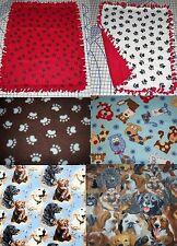 "Paw Prints Fleece Blanket Retriver Bulldog Paw Scottie German Sherpard 30""x24"""