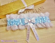 Personalised Wedding Garter Handmade Something Blue Lingerie Bride Crystal Hen