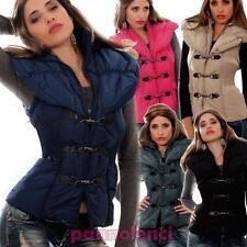 Giubbotto smanicato donna giacca imbottita cappuccio piumino zip nuovo F905
