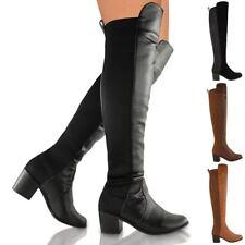 Da Donna Stivali al ginocchio coscia Alta Stretch Pull On Low Scarpe Stivali Tacco Medio