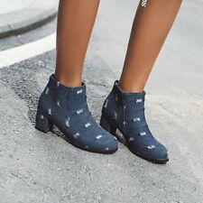 Women Punk Biker Denim Ankle Boots Side Zipper Block Mid Heels Cowboy Shoes Size