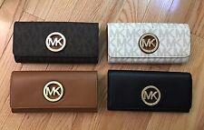 NWT MICHAEL KORS MK Signature Fulton Flap Continental Wallet