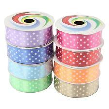 25mm Polkadot Shiny Satin Ribbon - Craft Polka Dot Spotty Dotty Dots Fabric