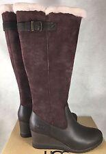 UGG Australia Women's Mischa Boots Stout Brown Waterproof Suede Leather 1013887