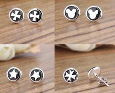 Two Tone Sterling Silver Post 8mm Mickey Round Star Cross  Stud Earrings PE15