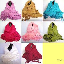 MUY BUENA SUAVE 100%algodón turco con Flecos Pashmina Pañuelo robó el hiyab
