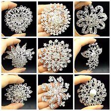 Wholesale Big Silver Rhinestone Crystal Brooches Pin DIY Wedding Bridal Bouquet