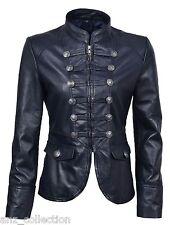 "Rita Navy Ladies Woman's ""Military Style"" Lambskin Soft Fashion Leather Jacket"