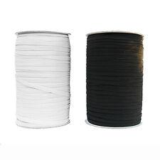 6mm 8 Cord Flat Elastic Black Or White Premium Grade Stretch Cord 1/4 Inch Wide