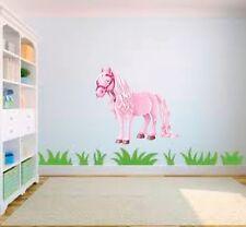 Pink pony cheval cartoon filles nurserie enfant chambre vinyle mur art autocollant