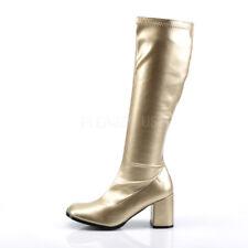 "Funtasma 3"" Block Heel Matte Gold Stretch Knee GoGo Boots Hero Cosplay 5-16"