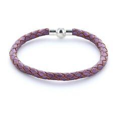 Lieblingsmensch® Armband Lederarmband 0,5cm geflochten Farbe: violett metallic