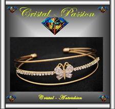 3 Joncs Bangle Bracelet cristal autrichien papillon doré à l'or fin