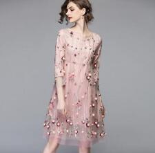 Women Mash Embroidery Flower Organza High Waist 3/4 Sleeve Princess Charm Dress