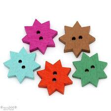 10 pièces Boutons en bois 20mm fleur étoile 2 TROUS 1,8MM - #