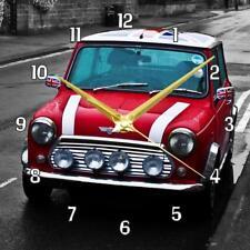 "Red Mini Cooper Car Handmade Picture Wall Clock 19.6cm 8"" / 28.5cm 11"""