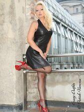 Lederkleid Leder Kleid Mini Schwarz Neckholder Größe 32 - 58 XS - XXXL