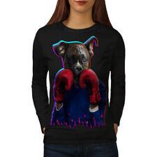 Boxer Animal Divertido Perro para mujeres de manga larga T-shirt new | wellcoda