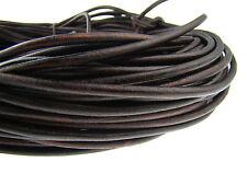 Lederschnur (ab 1,14€/m) Rund 5 mm. Antik Braun. Lederband. Länge: wählbar