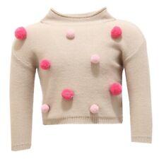 2619V maglione bimba IL GUFO lana wool beige sweater girl kid