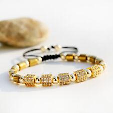 Fashion Men Zircon Hexagon Hematite Macrame Adjustable Women Bracelets Jewelry