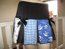 NEW Black White Blue skulls spotted Check Skirt All sizes Party Festival Gift
