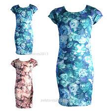 Filles Imprimé Floral Robe Manches Courtes Moulante Mi-longue Âge Taille 7-13 an