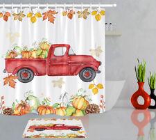 Autumn Thanksgiving Day Shower Curtain Liner Car Filled with Pumpkins Bath Mat
