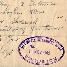 Iom Isle of Man Alien Internment Camp Peel, Mooragh, Metropole & Camp W papers