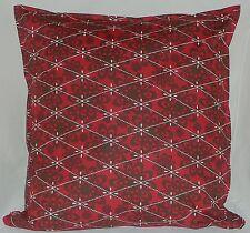 "Cushion Cover retro red geomatric print 100% cotton zipped 18"" & 16"" FREE p&p"