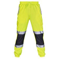 Uomo Alta Visibilità Pantaloni Lavoro Sicurezza Jogging Salopette Sport Casual