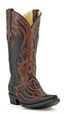 CORRAL Men's Black With Cognac Laser Overlay Snip Toe Cowboy Boots G1090