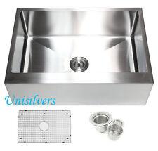 """30"""" 15mm Radius Stainless Steel Farmhouse Apron Single Bowl Kitchen Sink"""